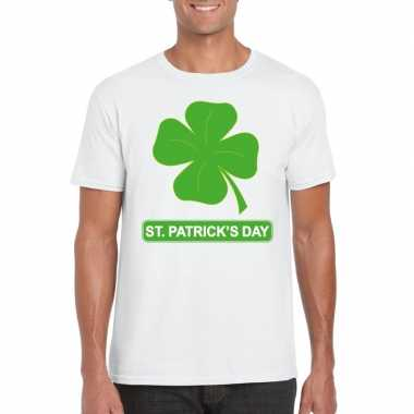 T shirt wit st. patricksday klavertje wit heren
