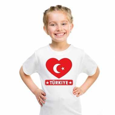 T shirt wit turkije vlag hart wit kind