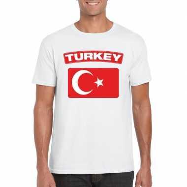 T shirt wit turkije vlag wit heren