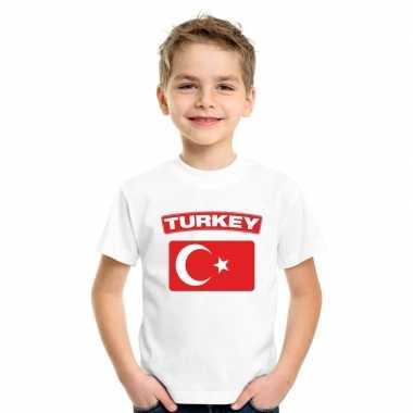T shirt wit turkije vlag wit jongens meisjes