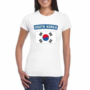 T shirt wit zuid korea vlag wit dames