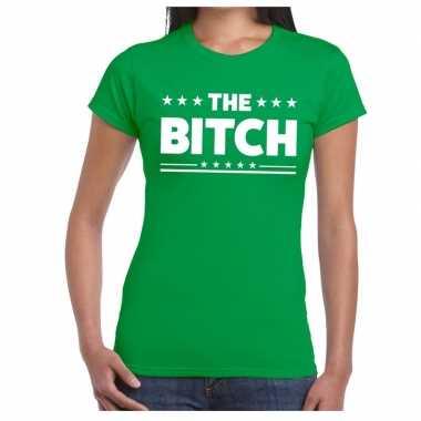 The bitch tekst t shirt groen dames