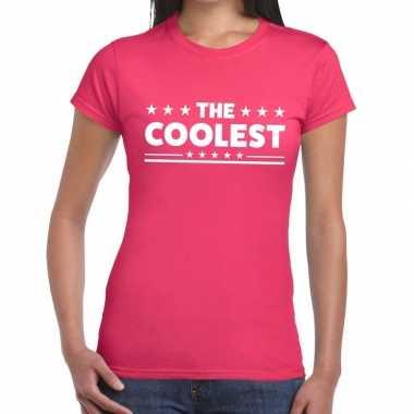 The coolest tekst t shirt roze dames