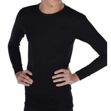 Thermo shirt zwart lange mouwen volwassenen