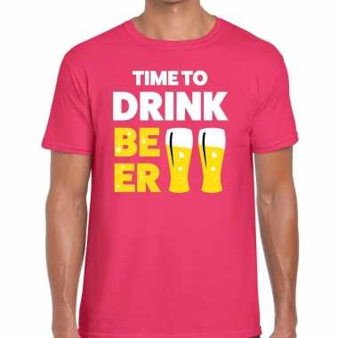 Time to drink beer tekst t shirt roze heren
