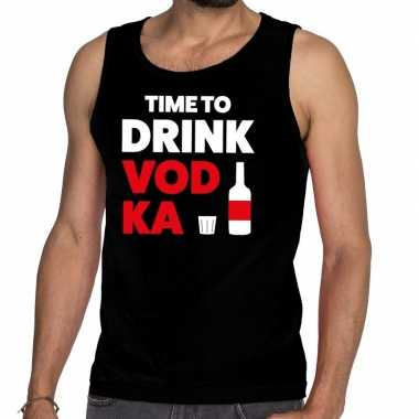 Time to drink vodka tanktop / mouwloos shirt zwart heren