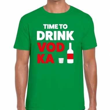 Time to drink vodka tekst t shirt groen heren