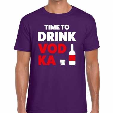 Time to drink vodka tekst t shirt paars heren