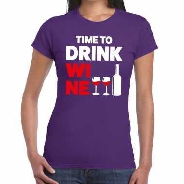 Time to drink wine tekst t shirt paars dames