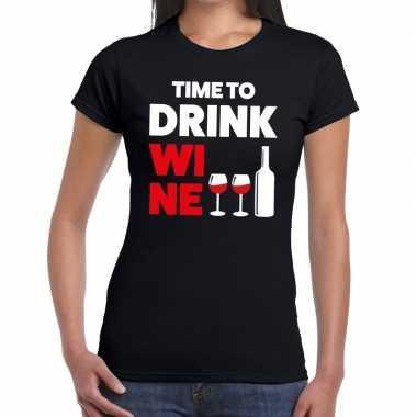Time to drink wine tekst t shirt zwart dames