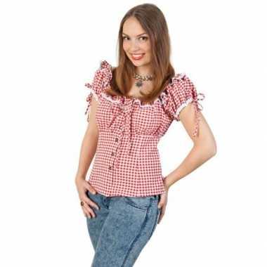 Tiroler shirt rood wit dames