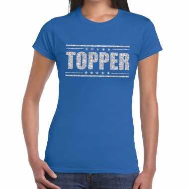 Topper t shirt blauw zilveren glitters dames