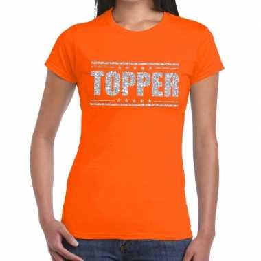 Topper t shirt oranje zilveren glitters dames