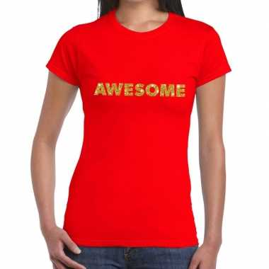 Toppers awesome goud glitter tekst t shirt rood dames