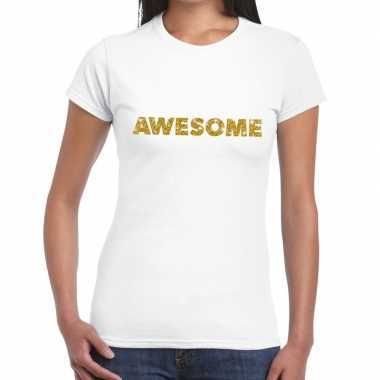 Toppers awesome goud glitter tekst t shirt wit dames