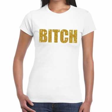 Toppers bitch glitter tekst t shirt wit dames