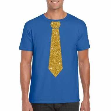 Toppers blauw fun t shirt stropdas glitter goud heren