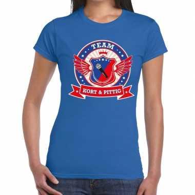 Toppers blauw kort pittig team t shirt dames
