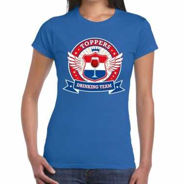 Toppers blauw toppers drinking team t shirt dames