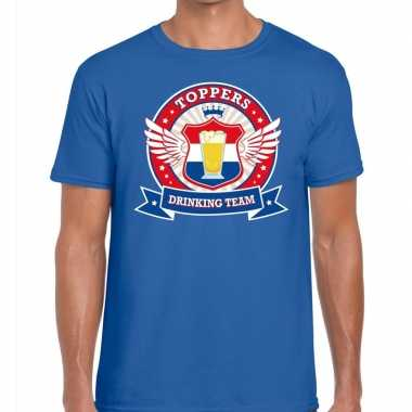 Toppers blauw toppers drinking team t shirt heren