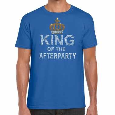 Toppers blauw toppers king of the afterparty glitter t shirt heren