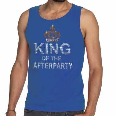 Toppers blauw toppers king of the afterparty glitter tanktop shirt he