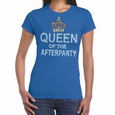 Toppers blauw toppers queen of the afterparty glitter t shirt dames