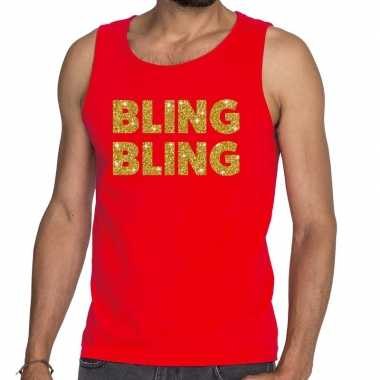 Toppers bling bling glitter tanktop / mouwloos shirt rood heren