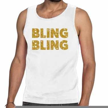 Toppers bling bling glitter tanktop / mouwloos shirt wit heren
