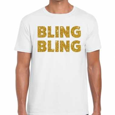 Toppers bling bling glitter tekst t shirt wit heren