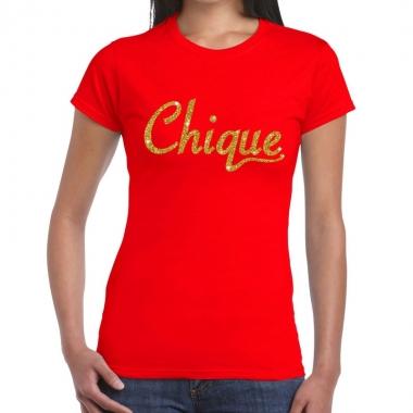 Toppers chique goud glitter tekst t shirt rood dames