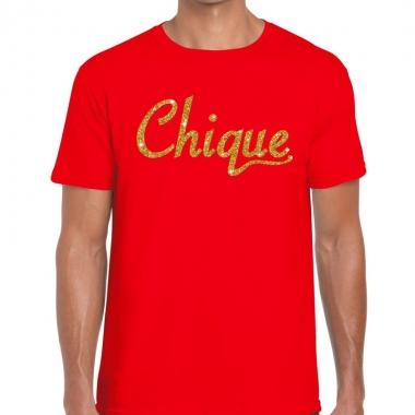 Toppers chique goud glitter tekst t shirt rood heren