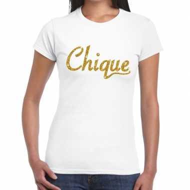 Toppers chique goud glitter tekst t shirt wit dames