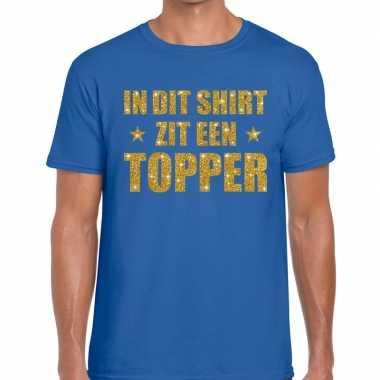 Toppers dit shirt zit een topper glitter tekst t shirt blauw heren