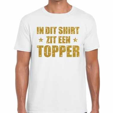 Toppers dit shirt zit een topper glitter tekst t shirt wit heren
