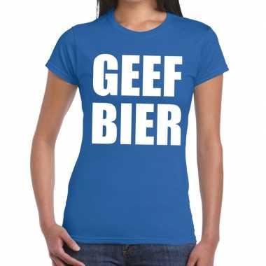 Toppers geef bier tekst t shirt blauw dames