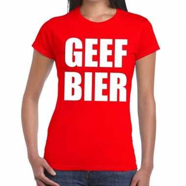 Toppers geef bier tekst t shirt rood dames