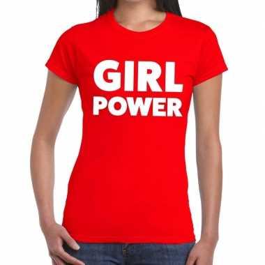 Toppers girl power tekst t shirt rood dames