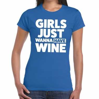 Toppers girls just wanna have wine tekst t shirt blauw dames