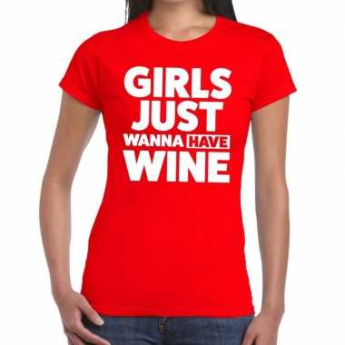 Toppers girls just wanna have wine tekst t shirt rood dames