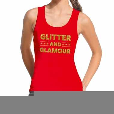 Toppers glitter and glamour glitter tanktop / mouwloos shirt rood dam