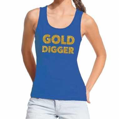 Toppers gold digger glitter tanktop / mouwloos shirt blauw dames