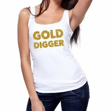 Toppers gold digger glitter tanktop / mouwloos shirt wit dames