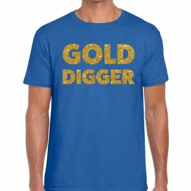 Toppers gold digger glitter tekst t shirt blauw heren