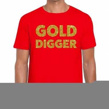 Toppers gold digger glitter tekst t shirt rood heren