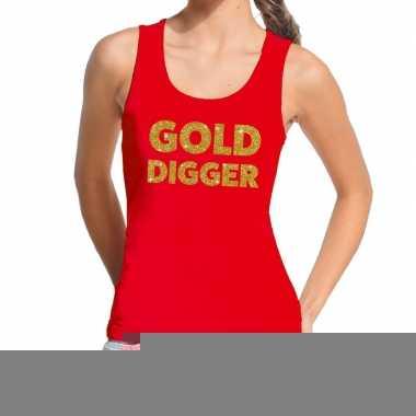 Toppers gold digger glitter tekst tanktop / mouwloos shirt rood dames