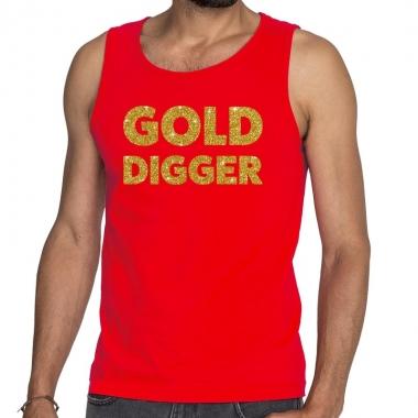 Toppers gold digger glitter tekst tanktop / mouwloos shirt rood heren