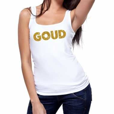 Toppers goud glitter tanktop / mouwloos shirt wit dames