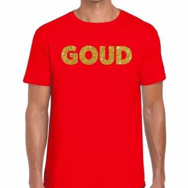 Toppers goud glitter tekst t shirt rood heren