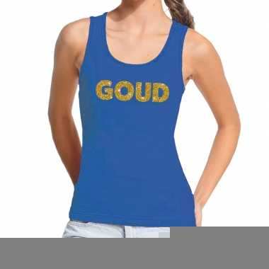 Toppers goud gouden glitter tanktop / mouwloos shirt blauw dames